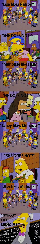Lisa likes nelson. .. poor milhouse