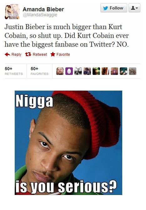 LOL. Dumb bitch.. Kurt Cobain cared so little about twatter that he never even heard of it. Oops >twitter. ileitis,,, Amanda Ember yr Follow A, Justin Ember