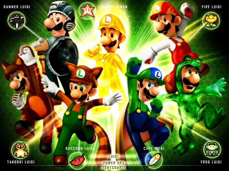 Luigi's Classic Power ups. Enjoy!. . HAMMER lolkill '-. '. iall ' , FIRE l. tsuiet FAHT. Frog Luigi = Master Mario Bro race