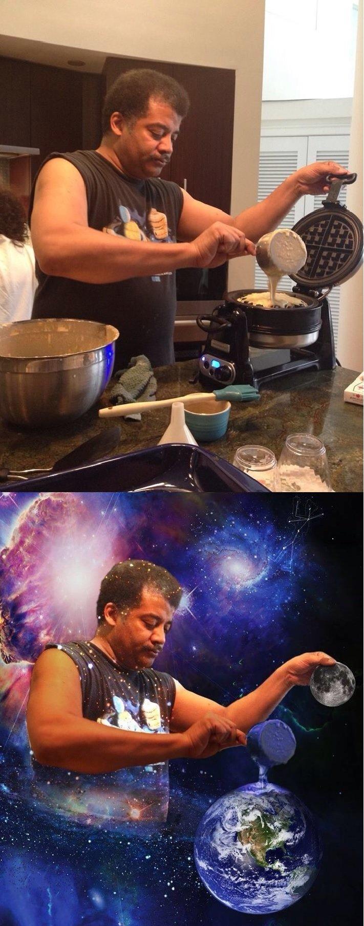 Making waffles. .