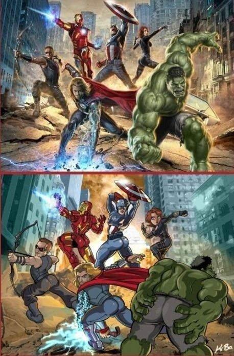 Male superheroes posing like female ones. Just weird.