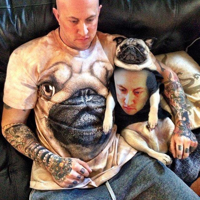 man in pug shirt, pug in man shirt. source Imgur. funny Pug Shirt