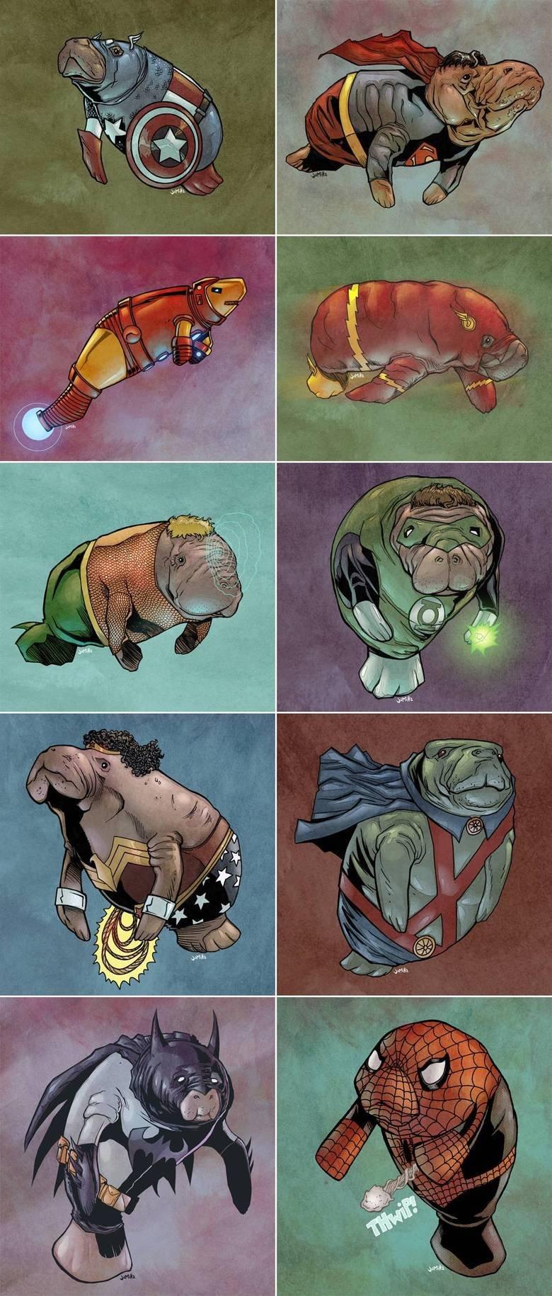 Manatee Superheroes. .. Lost it at Aquamanatee.