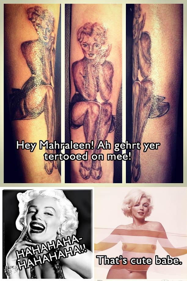 Marilyn Monroe Tattoo. Lololol. Marilyn Monroe marilyn monroe boob Tattoo fail lol derp