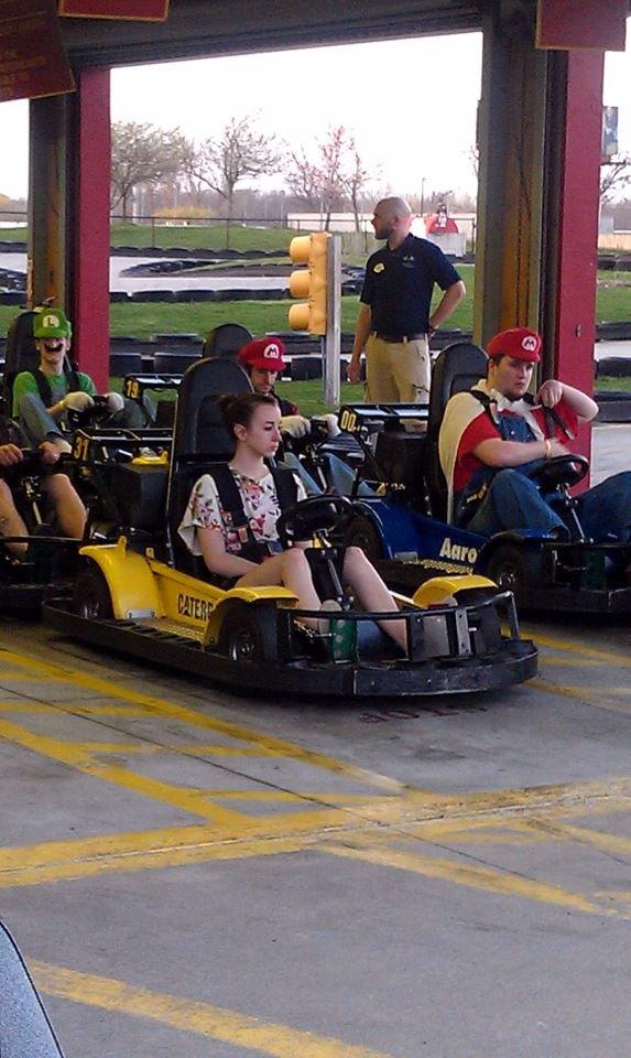 Mario Kart. she is screwed.. And then she say's something like, look everyone looks like zeldas.
