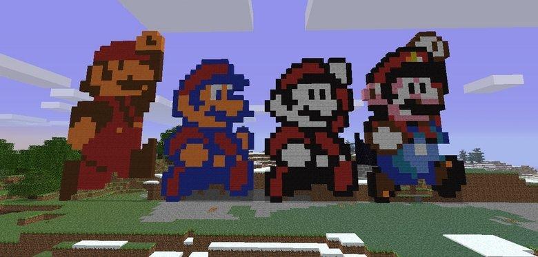 Mario Sprite Timeline Made in Minecraft. By Jacob Scott<br /> . h. 'bats. Jacob :D :D :D Mario sprite timeline Minecraft pixel Art