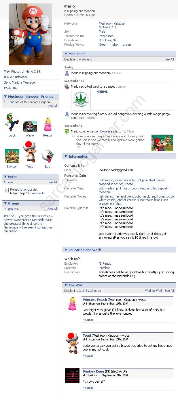 Mario on facebook. A look at mario's facebook profile, enjoy ^^ thumbs if you like. View Photos of Mario (114) Buy a Mushroom Send Mario a Message Poke Him! Mus