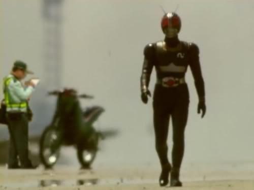 masker rider not safe from traffic cops. .. kamen rider black kicks ass masked rider epic caught cop