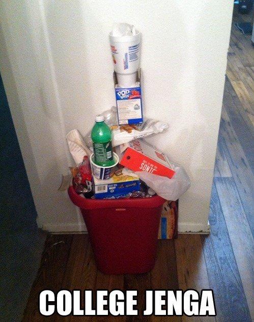 Maybe I should empty the bin? lolno.. .. Fake, no Ramen in trash, not college.