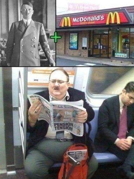 Mcdonalds + Hitler. = Fat hitler.. Penis tension