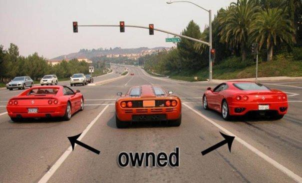 Mclaren at stop light. Ferraris never had a chance.. Ferrari's aren't made for total speed. Their main purpose is class/comfort. In other words, the Mclaren would destroy these Ferrari's. -- SSC Ultimate Aero is t ferrari mclaren