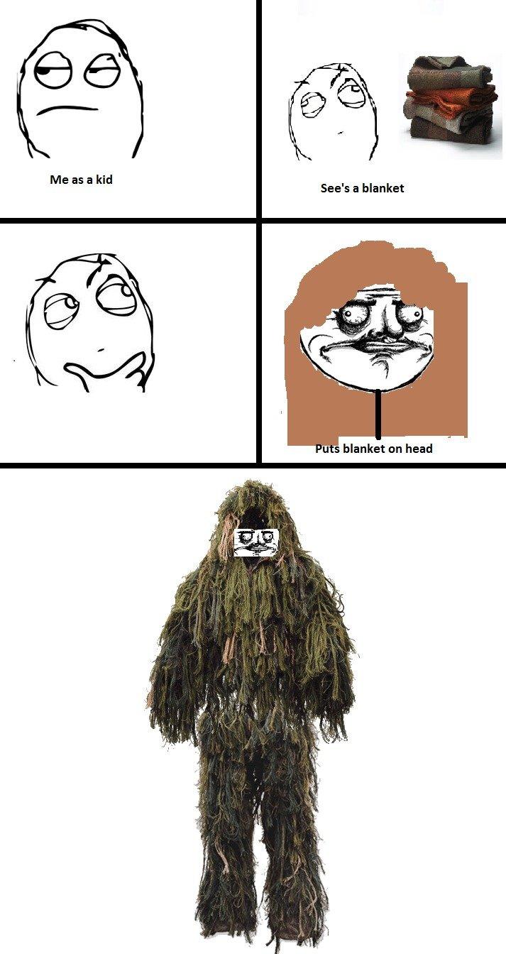Me as a Kid. I still do this.. Me as a kid See' blanket u s blanket on head. swamp thing