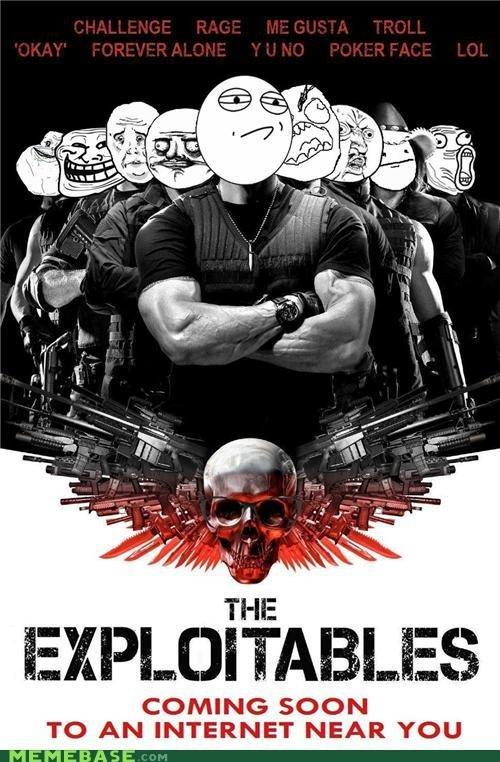 meme version of the exploitables. the exploitables cast as memes. COMING SOON TO AN INTERNET NEAR YOU MEMEBASE