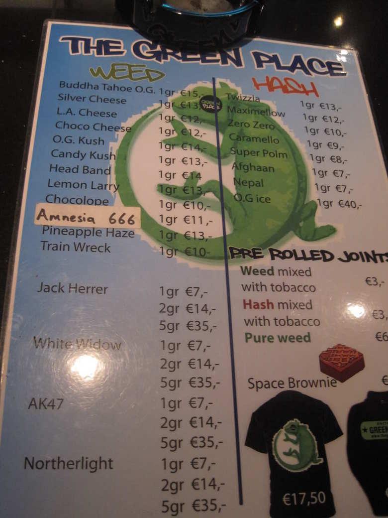 Menu from a Amsterdam coffeeshop. . Weed mixed ii, Jack Herrer ggr ,- with tobacco EB,- ggr EIA,- Hem mixed iia I ggr EM,- Space, Browne haig, ggr Cir,- I L tat weed menu