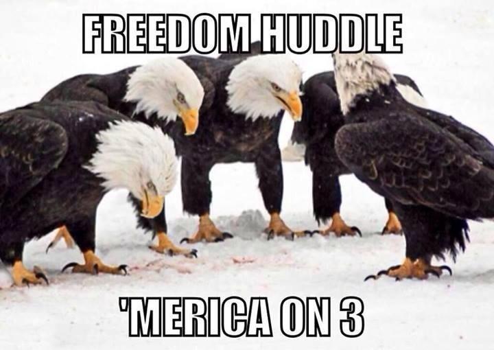 Freedom Huddle Merica on 3