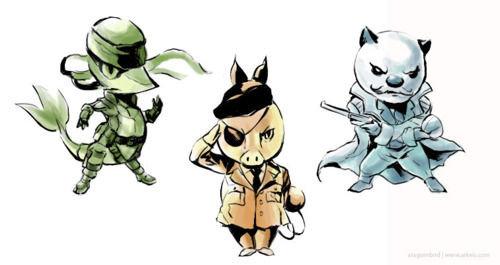 Metal Pokemon Solid. Crossovers are awesome.. Solid Snivy, TeBig Boss, Revolver Oshawott