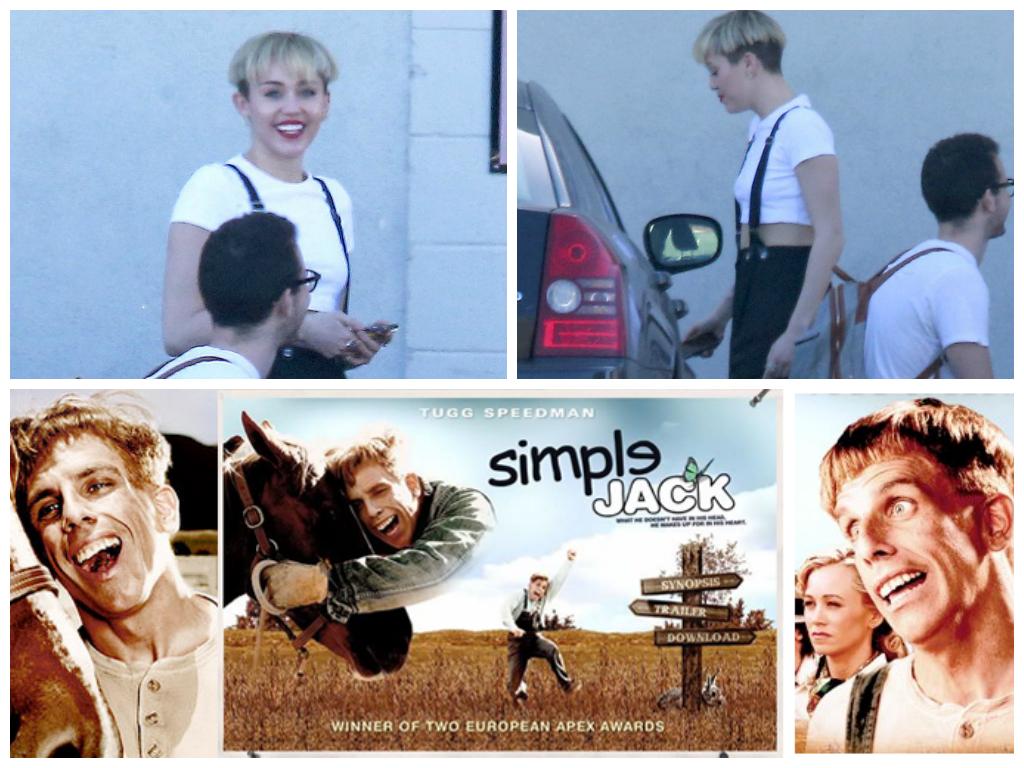 Miley Cyrus or Simple Jack. Never go full retard.. WINNER OF TWO APE! AWARDS. Boredom level: 9001 Photoshop level: 3 Miley level: Priceless
