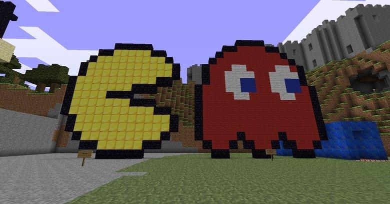 Minecraft Pac Man and Ghost 8 Bit Pixel  Minecraft Pac M...