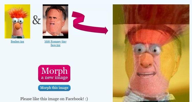 Mitt Romney tiny face Beaker morph. . Merph this image Please like this image en 3