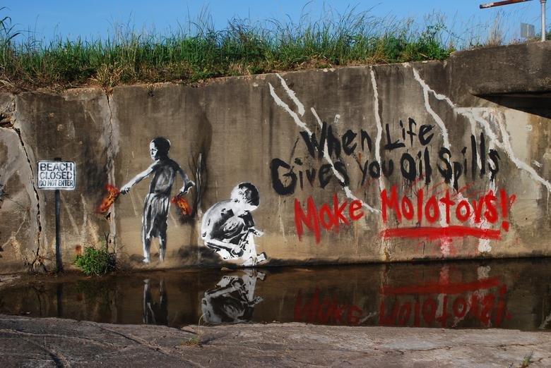 molotov!. .. It's Banksy, right?