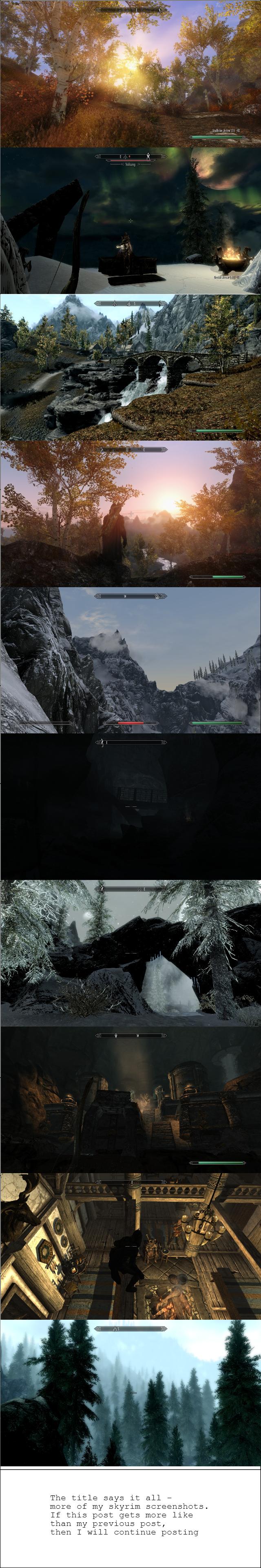 More modded Skyrim screenshots. Part 2 of my collection of Skyrim screenshots. I run quite alot of mods. Mod list: IncreasedGrassDensity StaticMeshImprovement S