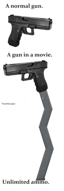Movie Logic.. movie logic. A normal gun. A gun in a movie. white space Unlimited ammo.. http:// www.