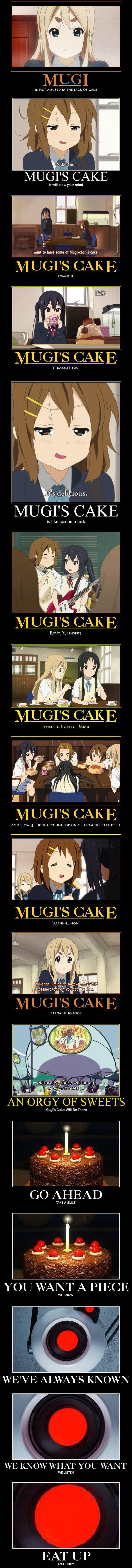 Mugi's Cake. Is it a Lie? (K-On Mots are not mine, portal mots are original) I was torn between animemanga and morbid-channel, I thought it wasn't creepy enough Anime mot posters k on mugi Cake Portal OC creepy