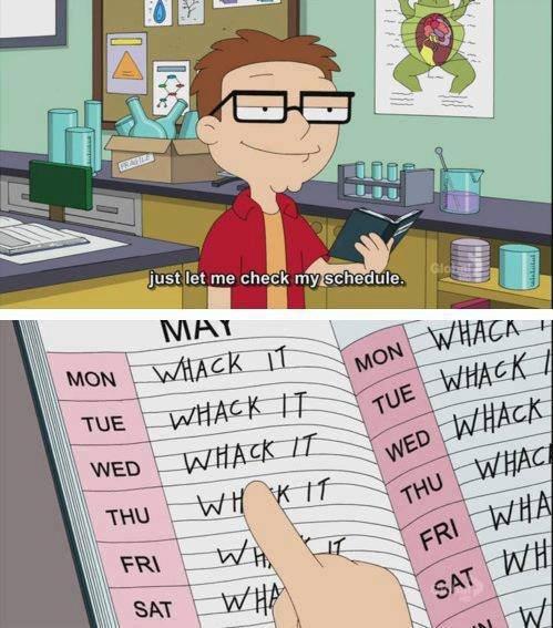 my Schedule this summer. whack it. stieg: rne r: he:: ii thy schee: iuge. - m gotta whack it
