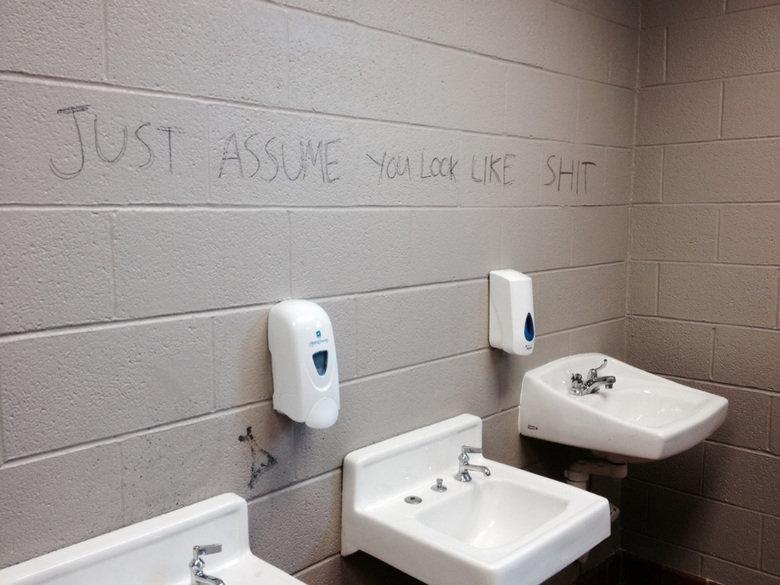 Bathroom Mirror Jokes my school's bathroom mirror!