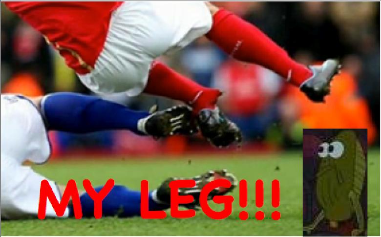 MY LEG!. Haha, I read it in his voice.. LOL! i remember that fish always crying MAH LEG those were da days