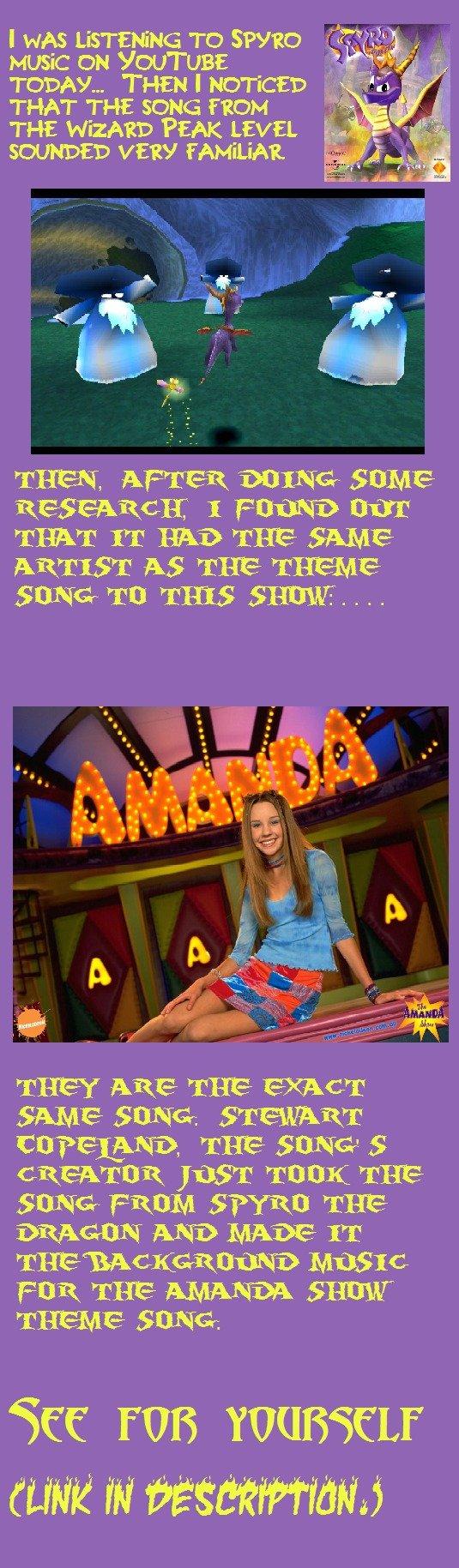My Mind Was Blown. Amanda Theme: www.youtube.com/watch?v=K-sc1hlHR-A&feature=related Spyro: www.youtube.com/watch?v=-yQNs6SAXEE&feature=related. THAT TH