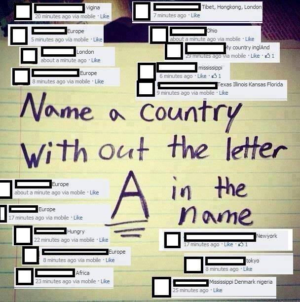 Name a country. . taet, Hongkong, London 7 minutes ago ' Like 20 minutes ago via mobile ' Like 5 minutes ago via mobile . Like about a minute ago , Like g -towr