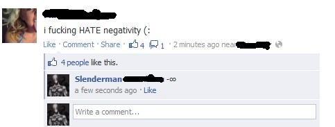 Negativity. . i HATE . Like .Ccomment .Share ser, 1 . 2 .. iys age nee:_' ti) I If! 4 people like this, lg Slen. -demmand' -an a fire seconds ago r Like J Write