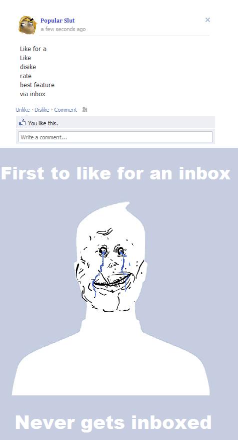 Never been inboxed. 1000.33% OC tags almost had sex with me. Popular Slut I a Few ago Like fer a Like dislke rate best feature via Inbox Unlike . Dislike . Kerr