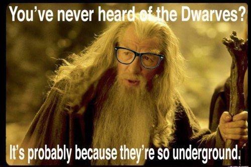 "never heard of dwarves ?. . You' never htiw q tll f e "" Illia] allt ttll: ltin. probally because they' re so underground. dwarves gandalf Underground glasses"