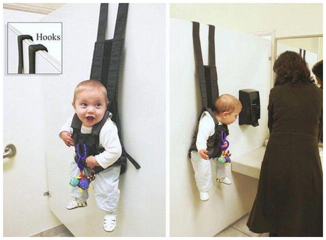 "NEW IMPROVED ""BABY HOOKS"". NO LONGER DUMPS JUNIOR IN THE FLOOR, GUARANTEED.. baby gadgets"