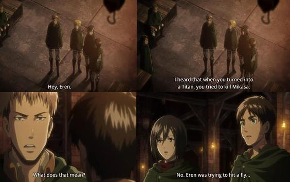 "Nice save.. Source - Attack on Titan. Inward that .. men into: asstard, countried an kill Mikasa. Nu. Eran ""astray"" lita fly."","