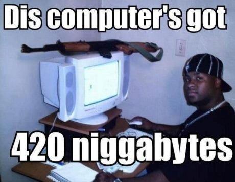 Niggabytes. 420 of them.. Yeah, but dis only got like, wat, 32 bit OS..? A reel got 69 bit's of dat OS, ya feel me?