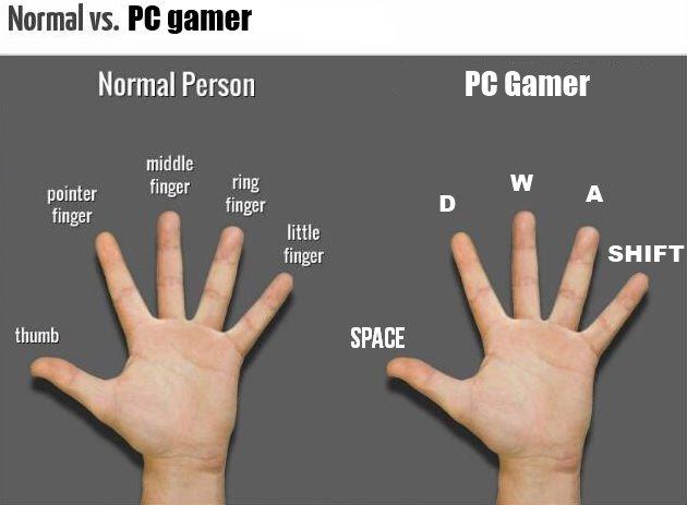 """Normal Vs.. PC Gamer. Normal vs. Pl: gamer Normal Person """" Gamer finger """"Er little finger thumb. lol at little finger not being ctrl are you dumb? yeah you dumb"""