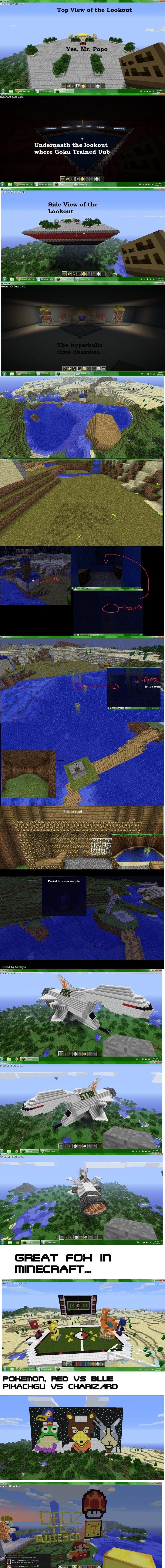 Nostalgia comp of minecraft. Made them all and now the server is close, makes me sad,.. spelt pikachu wrong