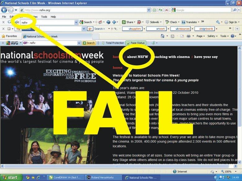 NSFW FAIL. teaching kids how to fail at acronyms<br /> . K' National Schools Film Week - Windows Internet Explorer . org has Tools Help Mt Favorites , awe nsfw fail