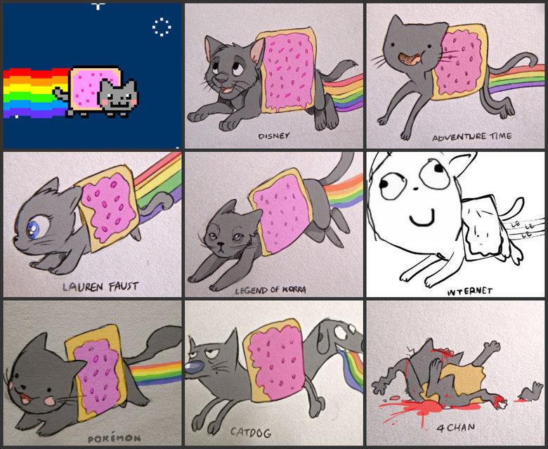 nyan..nyan..nyan..CAT!!. .. Technically, the original Nyan Cat is the internet version.