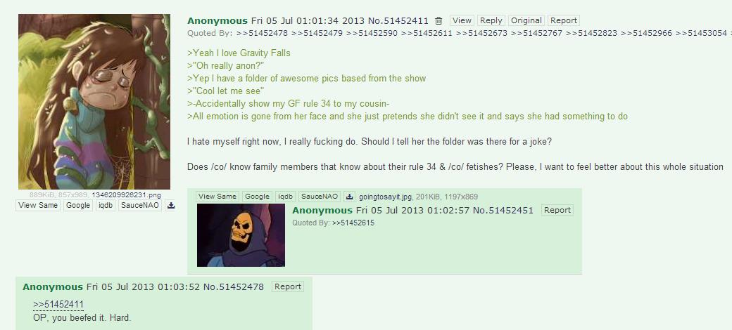 "OP fucked up. www.imdb.com/title/tt1865718/?ref_=fn_al_tt_1. Anonymous Fri Jul 01: 01: 34 2013 View Reply Original Report I love Gravity Falls really anon?"" I h"