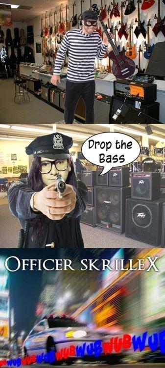 Officer skrillex. not mine .. still funny. officer skrillex dubstep lol i lub u