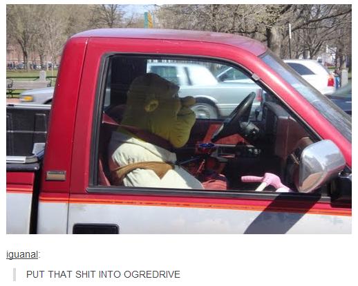 "Ogredrive. . PUT THAT INTO 'MRI"" AN"" am Shrek"