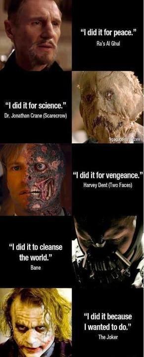"Oh, Joker. . l did it for peace."" i an Al l did it for science."" llr. Dana Alu, f I did it for vengeance."" Harm? Dent New Faces} l did inn cleanse (Ill'')) 'i f"