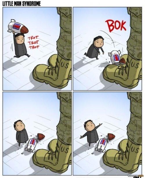 Oh, North Korea. You so crazy. Credit: jollyjack.deviantart.com/art/Little-Man-Syndrome-350464435.. Last frame reminds me the anteater.