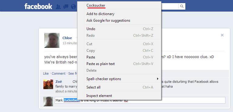 Oh Google Chrome!. My laptop must really hate Mark Zuckerburg!. deer Add to dictionary Ask suggestions U n d o Ctrl + E Redo Ctrlc Shifter Cut Copy you' alwayse