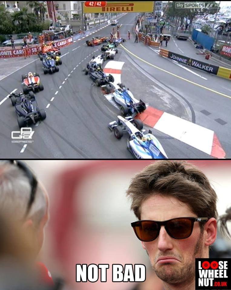 Oh Grosjeam. I'm sure he could crash better. Cars Racing