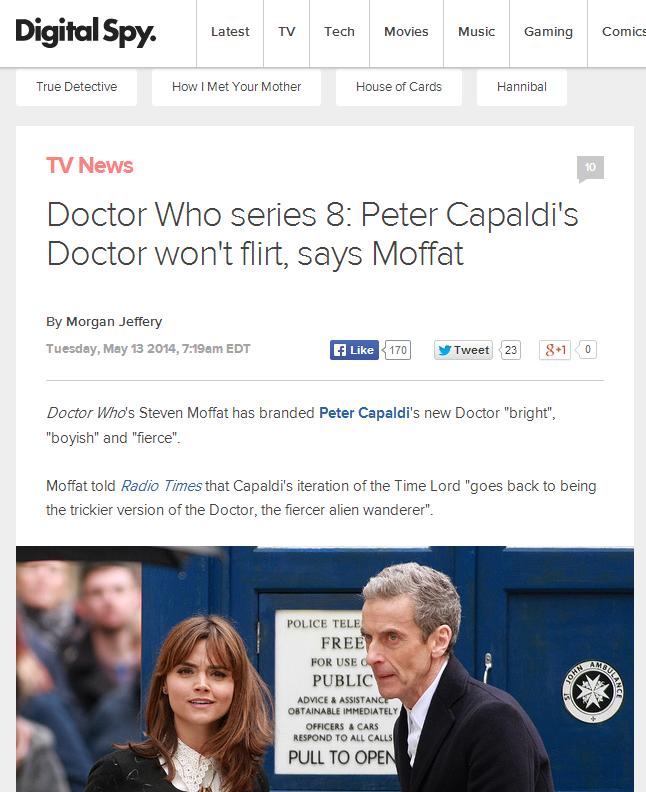 Oh, Thank Rassilon!. www.digitalspy.com/british-tv/s7/doctor-who/news/a570665/doctor-who-series-8-peter-capaldis-doctor-wont-flirt-says-moffat.html#~oEjiMEsLaRD Doctor Who yes Malcolm Tucker